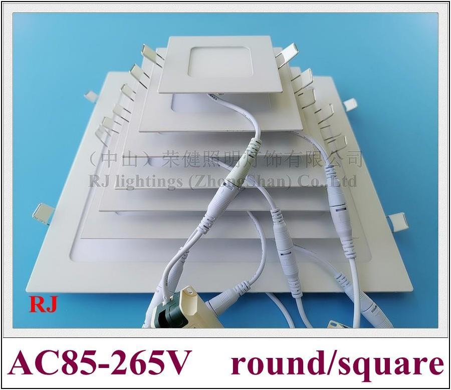 flat light super thin round square recessed ceiling LED panel lamp light 24W 18W 15W 12W 9W 6W 3W AC85-265V embeded install aluminum PMMA