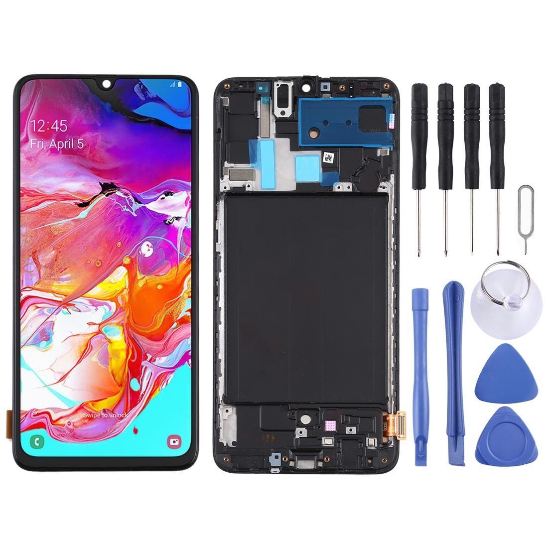 TFT-Material LCD-Bildschirm und Digitizer Vollversammlung mit Rahmen für Samsung Galaxy A70