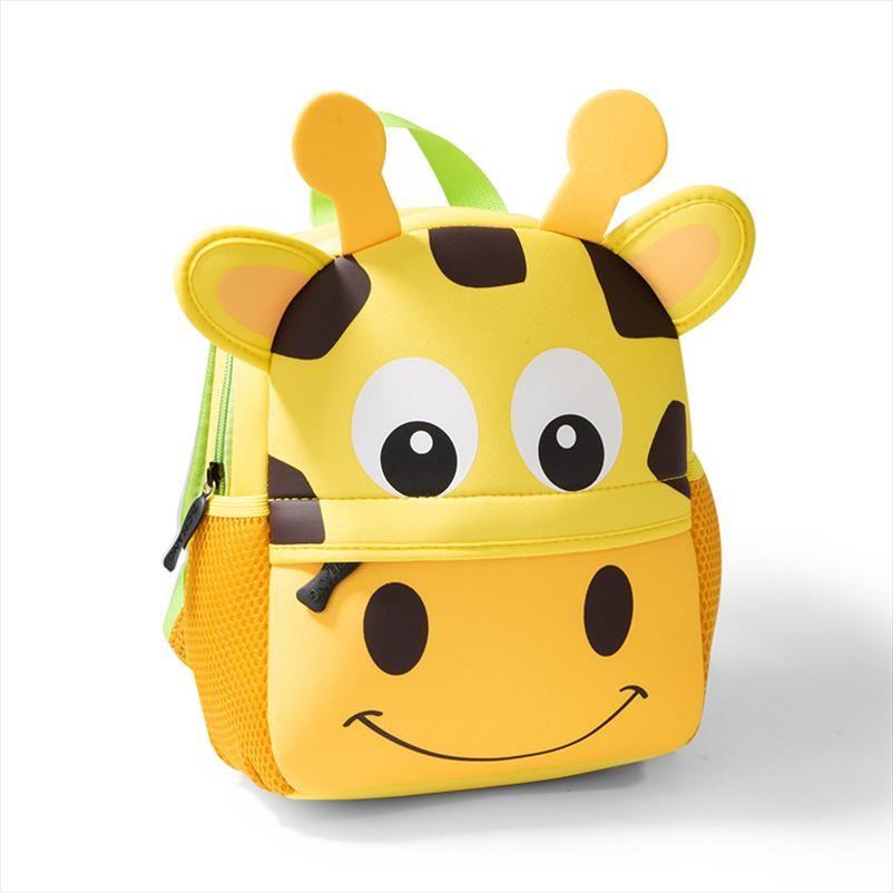 2020 Neue Kinder Rucksäcke 3D Giraffe Design Mädchen Jungen Schulranzen Kleinkind Kinder Neopren Schoolbag Kindergarten Cartoon Pouch