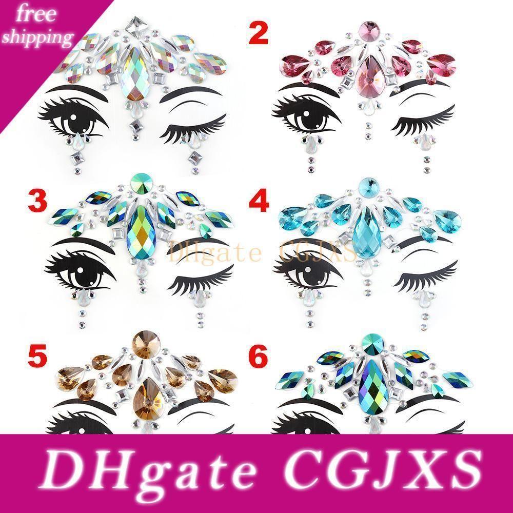 3d кристалл татуировки наклейки Diy акриловые лица Декоративные наклейки мутил цвета Masquerade вечеринок для женщин Свадебные украшения