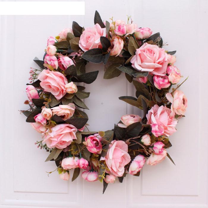 моделирование Шелковый цветок искусственный Листья Рождественский венок MistletoeDoor цветок Венок для двери Wall Window Рождество дома свадебного украшения