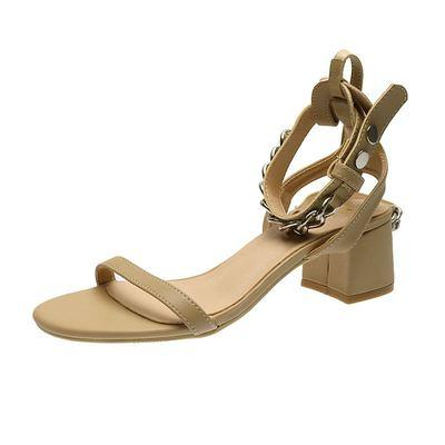 2020 summer new high-heeled sandals with thick heels fashion all-match metal chain large size Roman sandals