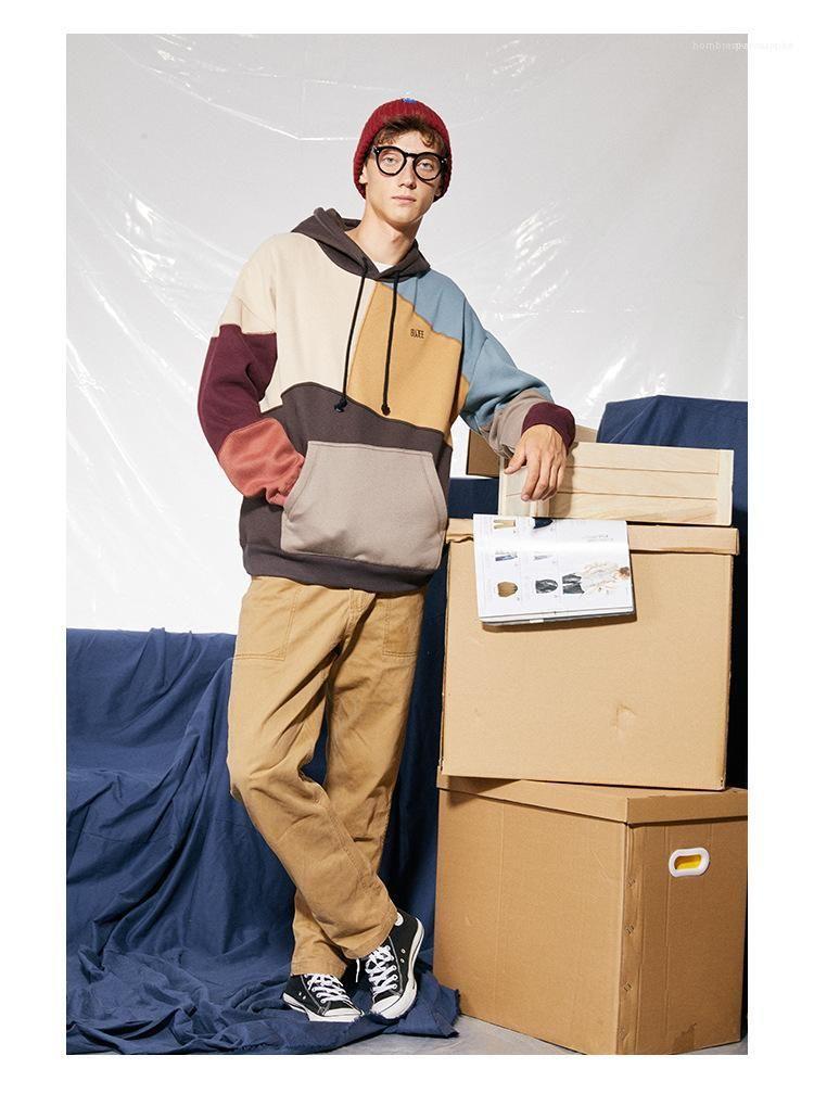 Homme Kleidung Hip Hop-Art-beiläufigen Kleidung der Männer Herbst Designer Hoodiees Rundhalsausschnitt Pullover Langarm karierter Farbdruck