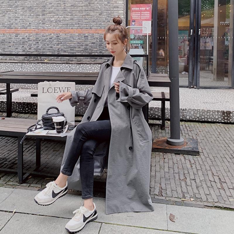 2020 rüzgarlık Kadın Orta Boy İlkbahar ve Sonbahar Yeni Kore gevşek nt İngiliz tarzı bağcıklı Hepburn WINDBREAKER ceket tarzı ceket zayıflama