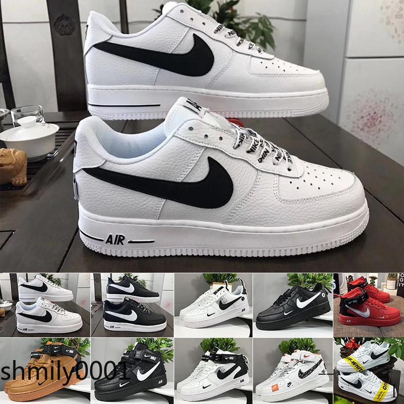 Nike Air Force 1 One Af1 Venta 2019 nuevos hombres del diseño del monopatín Fuerzas baja Zapatos unisex barato un 1 Euro Knit de aire de alta Mujeres Todos Blanco Negro Rojo