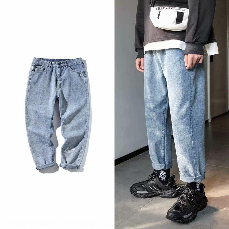 Breitbein Männer 2020 Frühlings- und Sommermodemarke lose gerade Bein Anhänger Anhänger Jeans und Jeans knöchellangen Hosen der Männer koreanische Art und Weise y