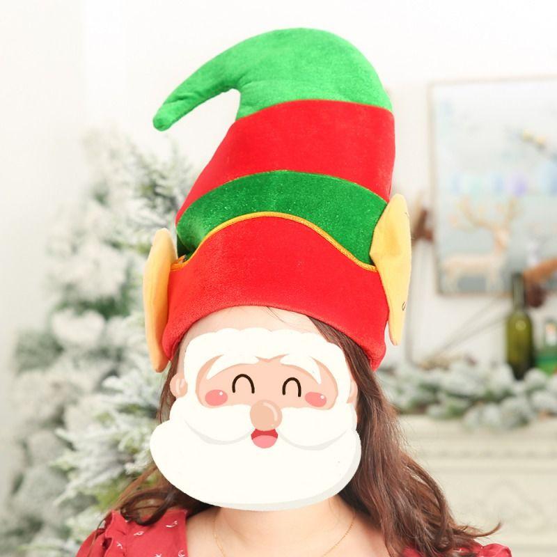 زينة عيد الميلاد قبعة للبالغين الأطفال الأحمر والأخضر تصميم مخطط الحلي سانتا القبعات حزب الدعائم عيد الميلاد