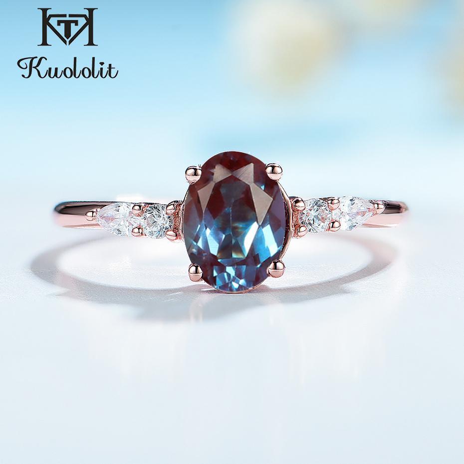 Kuololit 585 Roségold Labor gezüchteten Alexandrit Edelstein-Ring für Frauen-Körper-925 Sterlingsilber-Oval Ring für Braut Fine Jewelry