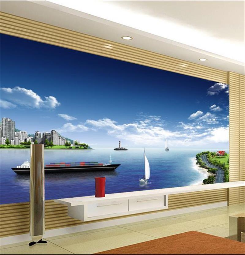 benutzerdefinierte Größe 3D Wallpaper Fototapete Wohnzimmer Schlafzimmer Wandsegel Seestadt Landschaft 3D-Bild Sofa Tapete Aufkleber TV Kulisse