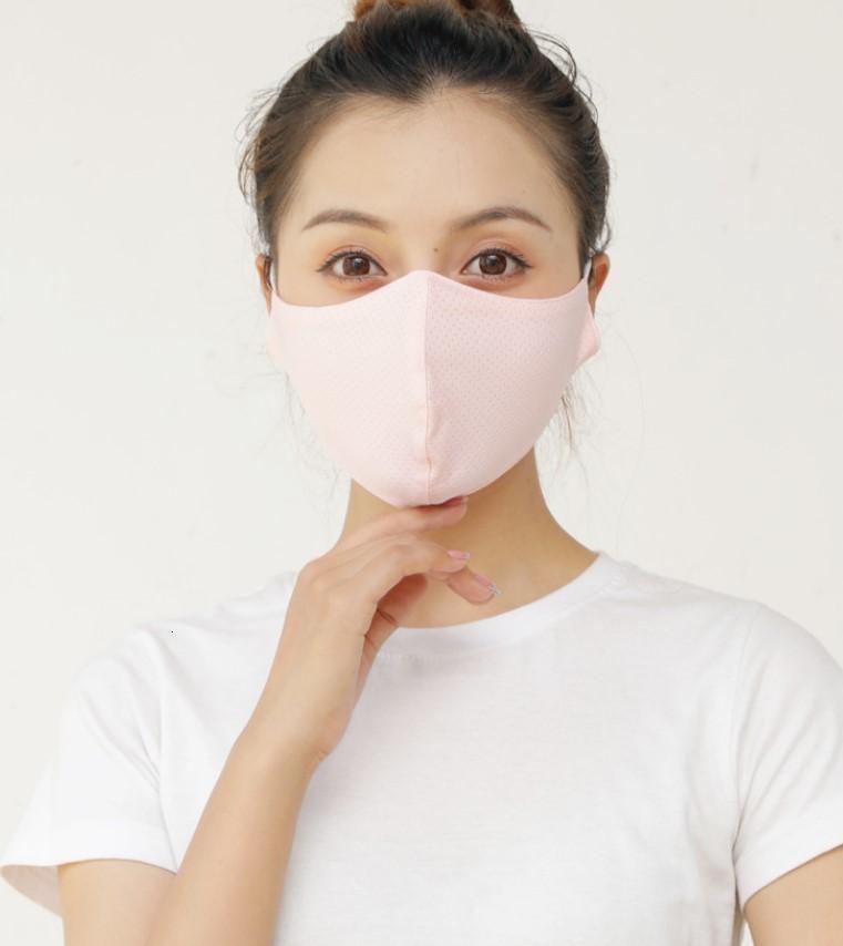 Pano Ice lavável Silk reutilizável Anti-uv Máscara Facial Tampa Anti poeira à prova de vento para adultos Unisex cor sólida