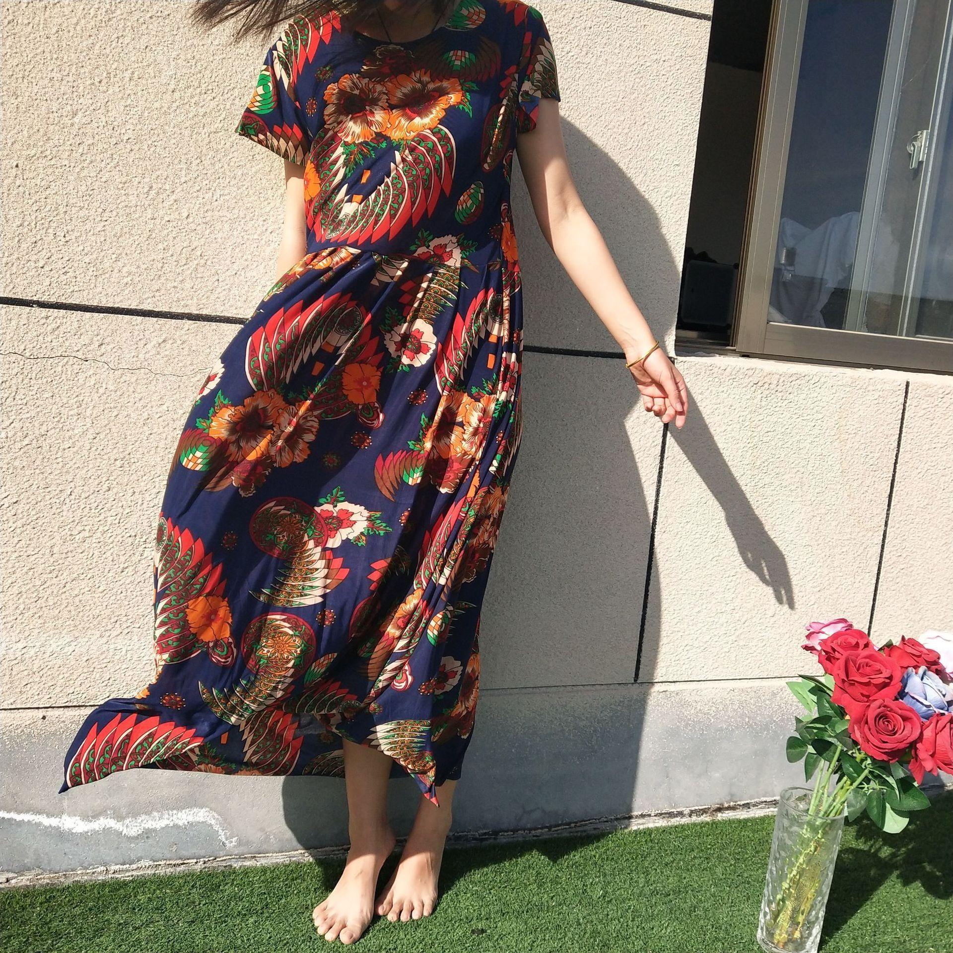 vTXUB plissado de seda gelo no verão Além disso saia estilo coreano ZJe2s cintura alta vestido de saia de uma peça grande extensão Slim Fit grande corpo de gordura impressos em