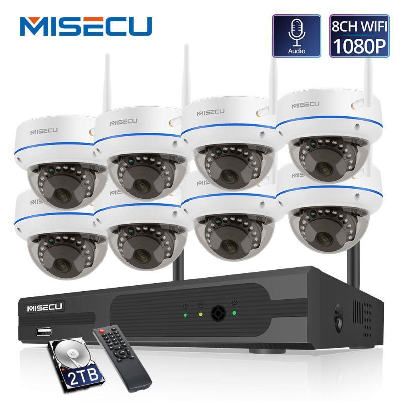 NISECU 8CH 1080P HD لاسلكي نظام NVR مع 2.0MP داخلي vandalproof wifi كاميرا الصوت تسجيل IR للرؤية الليلية كيت مراقبة