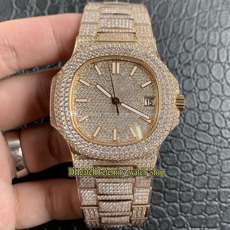 R8 V2 Upgrade-versão 18k-Rose-Gold Diamond Inlay Case 7021 / 1R-001 Diamantes Dial Cal.324 s C Automático 5719 mens relógio gelado para fora relógios cheios