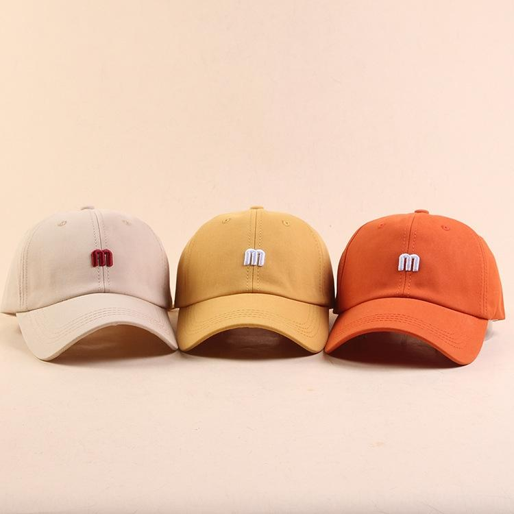 149Bk Korean stylestyle soft girl Pointed baseball cap baseball cap men's and women's summer outdoor student sun hat fashionable m letter em