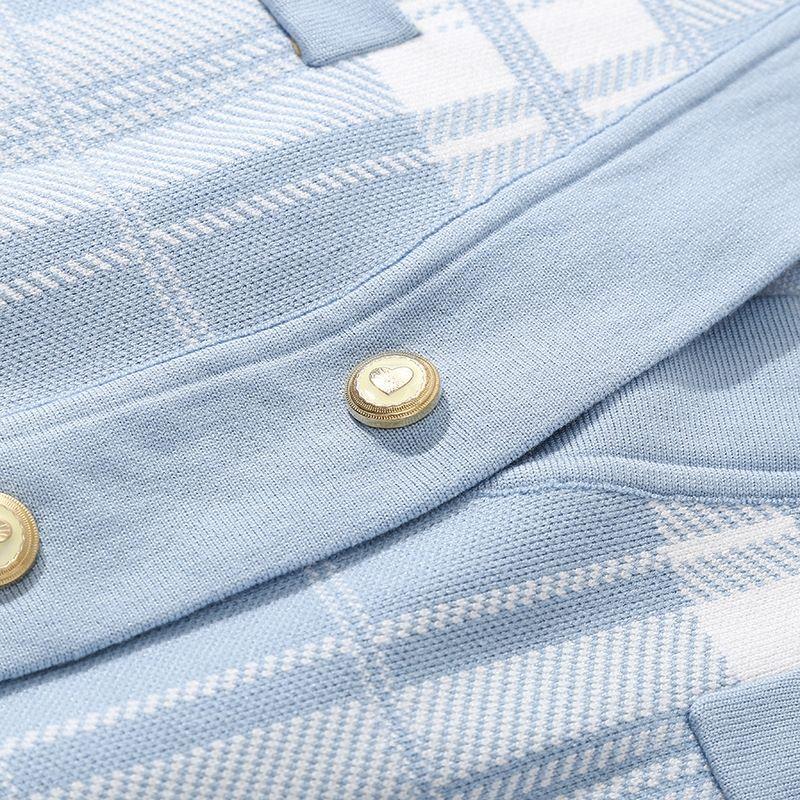 Yangmei storestyle con cuello en V de longitud media chaqueta de punto yangmei Escudo storestyle a cuadros con cuello en V suéter de longitud media a cuadros capa de la chaqueta de punto oy9Vn oy9V