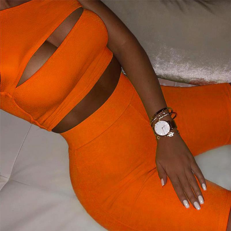 colore delle donne scava fuori 2 Pezzi Tute Set sexy Neon spalle Crop Tops elastico in vita pantaloncini estivi Donna Sport Suit