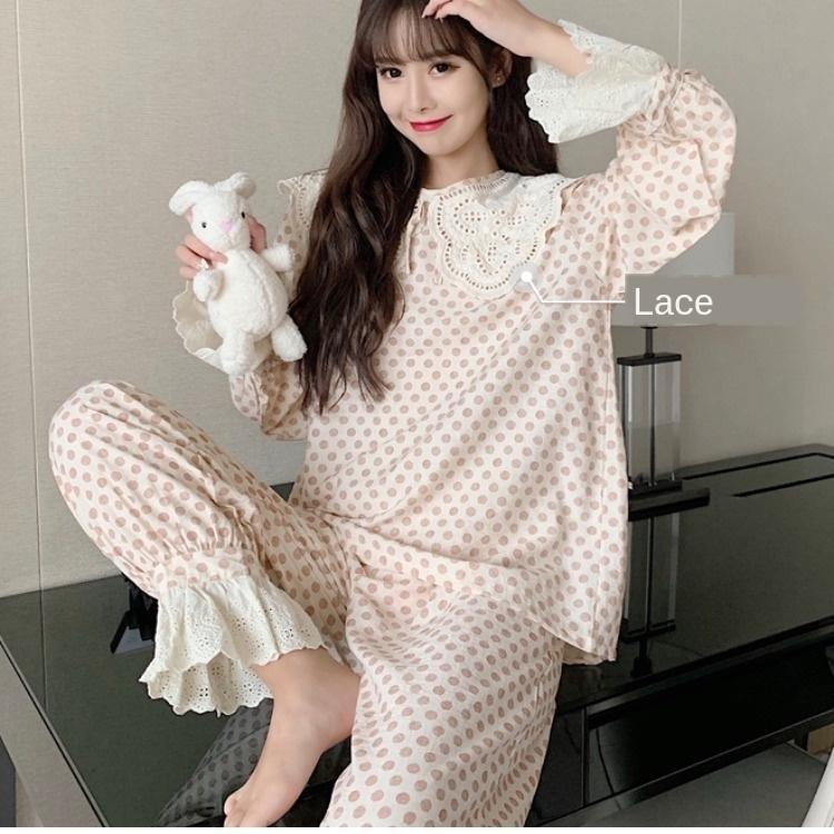 Bgkrw Pcp5g Autumn sweet sexy new princess style woven cotton women's lace sleeve lapel pajamas big suit lace long pajamas pajamas