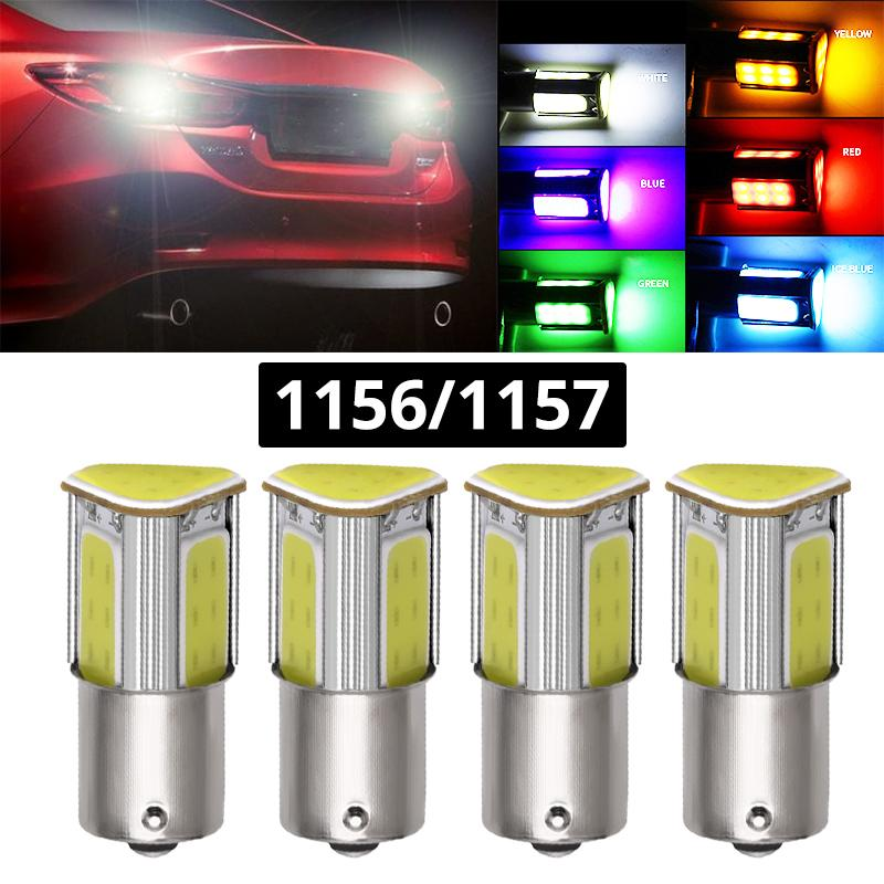 4pcs 1156 BA15S 1157 BAY15D COB LED P21W 1157 LED Turning lumière inversée Parking Lampe Signal Bleu Vert Jaune Blanc Rouge