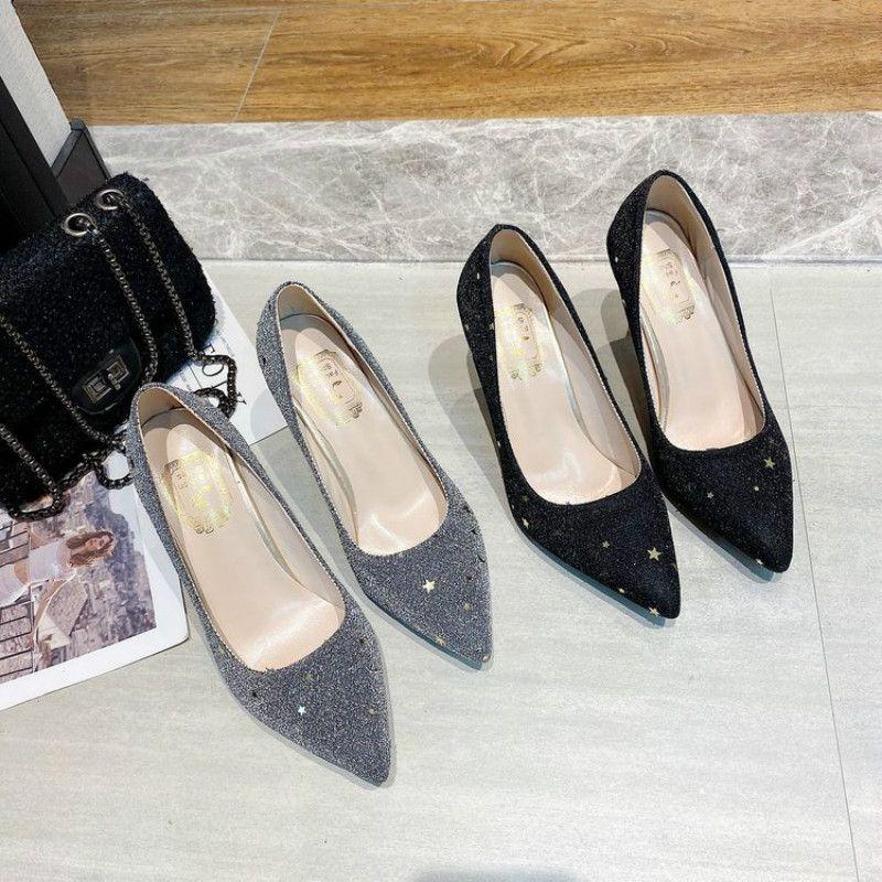 Zapatos de vestir Las lentejuelas sexy de las mujeres puntadas de punta altas tacones altos de las señoras Fiesta de la moda bombas de boda elegante mujer poco profunda