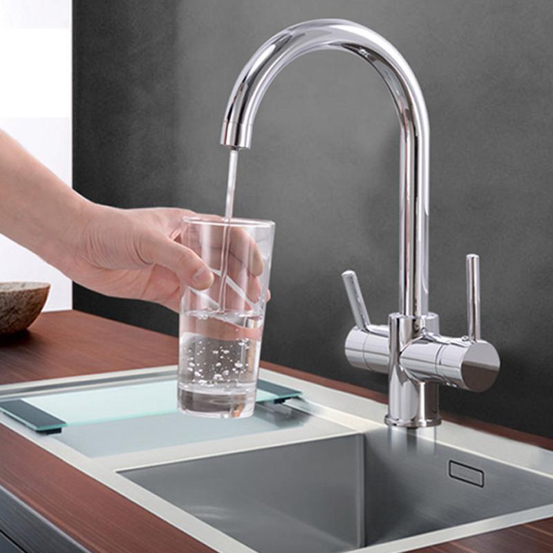 L'acqua potabile del rubinetto purificazione BeigeChrome Kitchen Sink rubinetto miscelatore design rotazione di 360 gradi filtrato rubinetto della cucina T200810