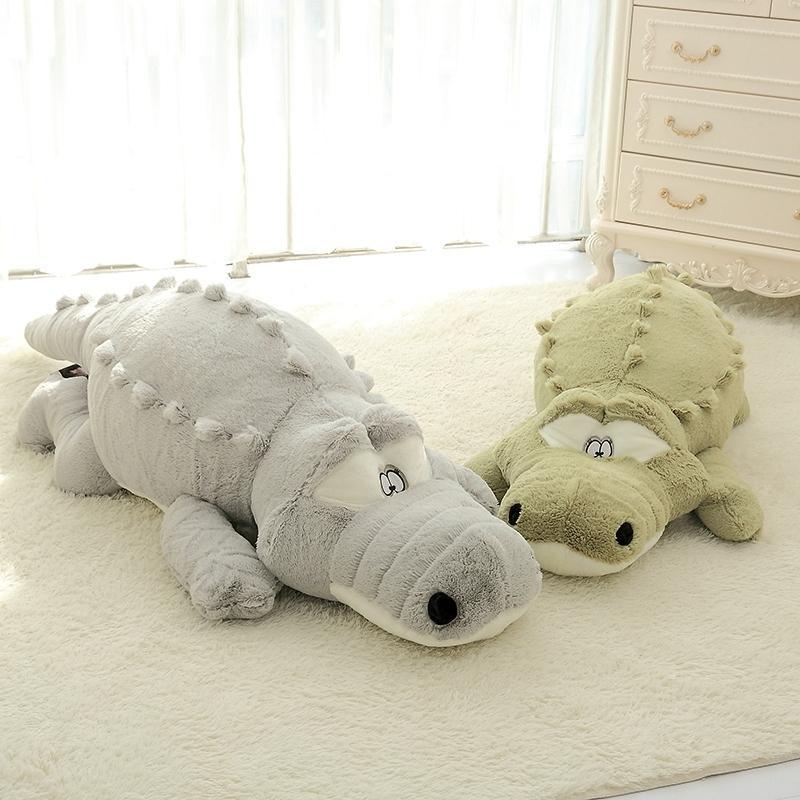 60-140cm el tamaño grande de Simulación Crocodile felpa juguetes suaves de los animales rellenos almohadilla del amortiguador de la decoración del hogar Juguetes para niños niñas regalos de Navidad MX200716