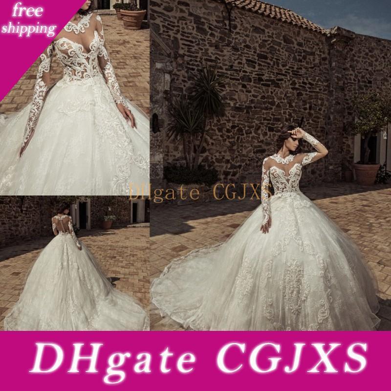 Corona Borealis 2020 pleine dentelle bal robe de mariage Jewel manches longues Robes de mariée balayage train illusion plus robe de mariée