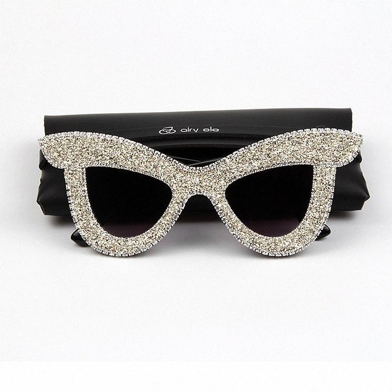 Großhandel Katzenaugen-Sonnenbrille Frauen LuxuxRhinestone Big Rahmen übergroße Sonnenbrille für Männer Vintage-Farben für Frauen oculos 4gqR #