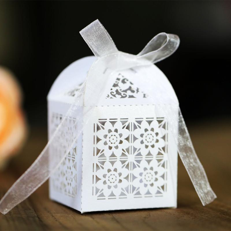50p Лазерной Hollow упаковочной коробки роза Box Праздник шоколад окно цветок конфета День рождение свадебные украшения 5Z
