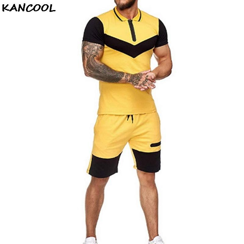 Mens corto Define Verano Vestimenta de verano de 2 pedazos de Colorblock trajes de pista de la camiseta + pantalones cortos de algodón de los hombres chándales
