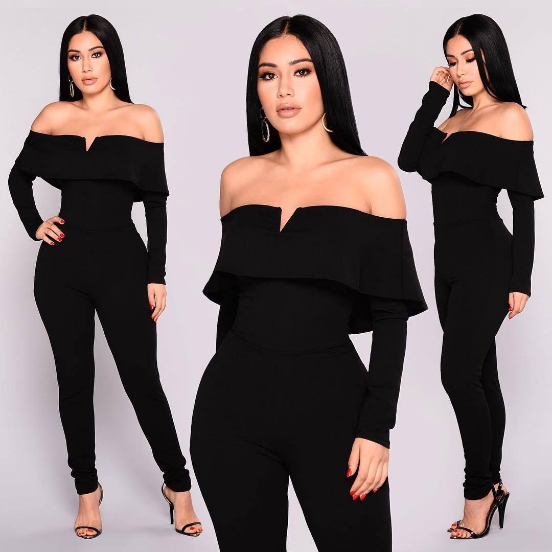 DN8056 europäische und amerikanische sexye Art und Weise der Frauen Normallack ein-Schulter kleiner V-Ausschnitt Overall 2020