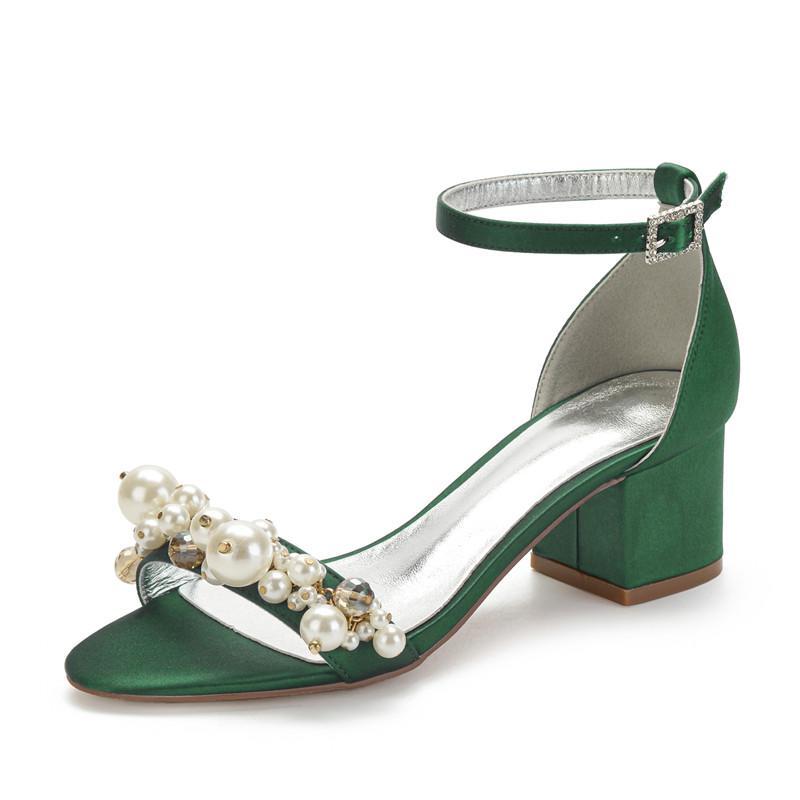 Salto bloco mediana Satin Sandals casamento pérolas para a noiva Abrir Toe Ankle da bracelete formais Salto vestido de festa Sandálias do verão