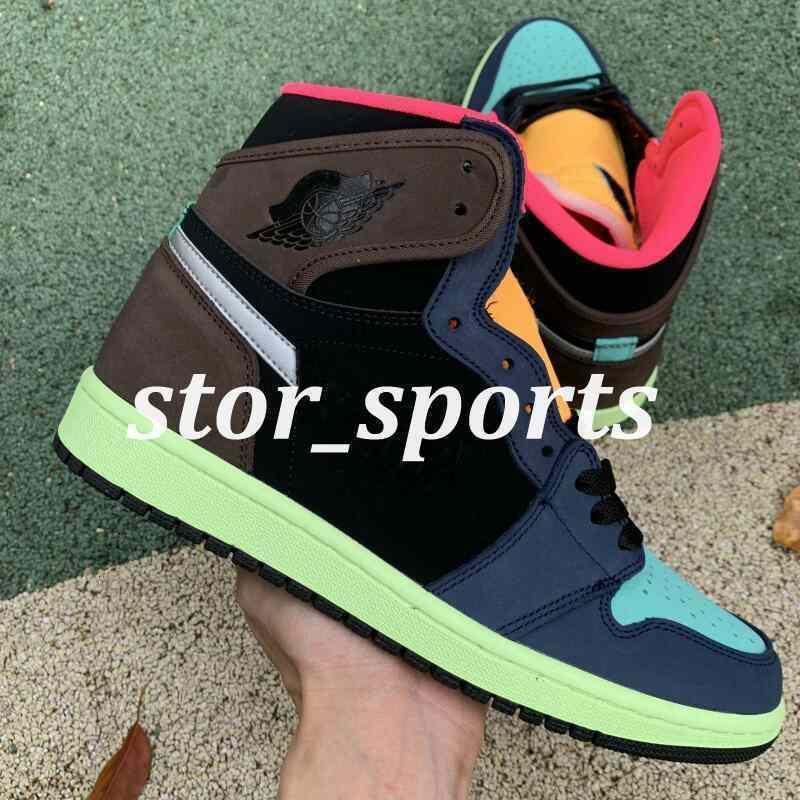 Lançamento Bio alta 2020 novo OG 1 1s barroco Corte Brown Black-Laser Orange-Racer rosa Mens tênis de basquete Homens Sports Designer Sneakers36-46