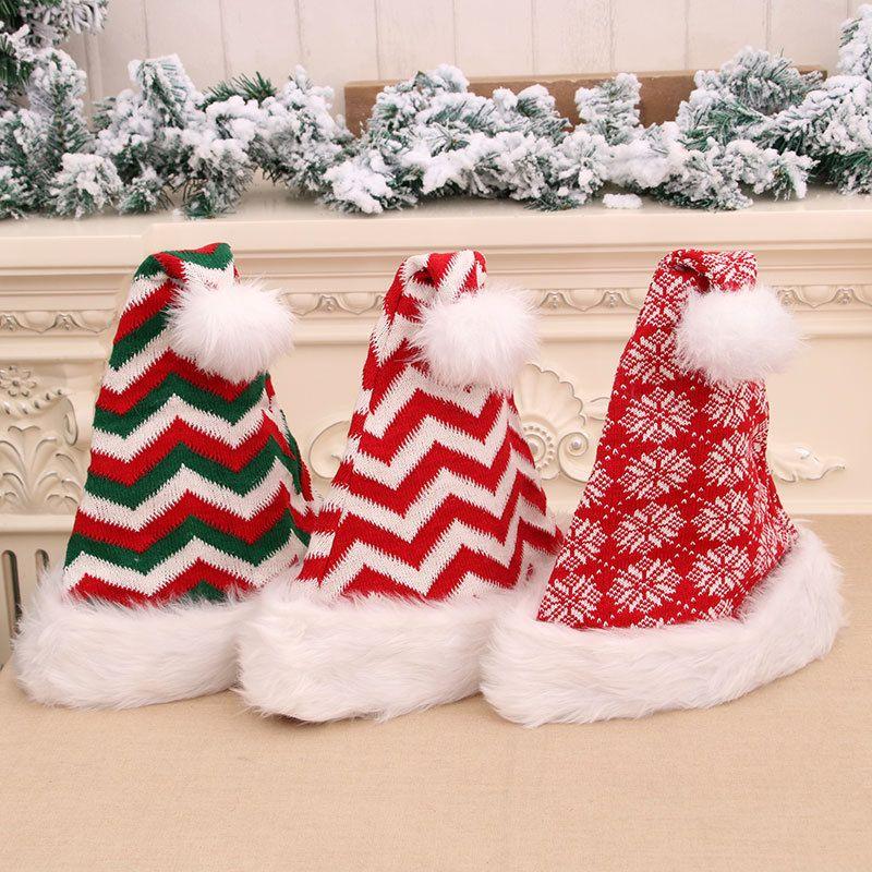 Partido del bolso 3styles rayado de la Navidad Decoración de Navidad sombrero rojo de Santa Claus decoración de Navidad sombrero de la felpa Adornos regalo de los cabritos FFA2848-3
