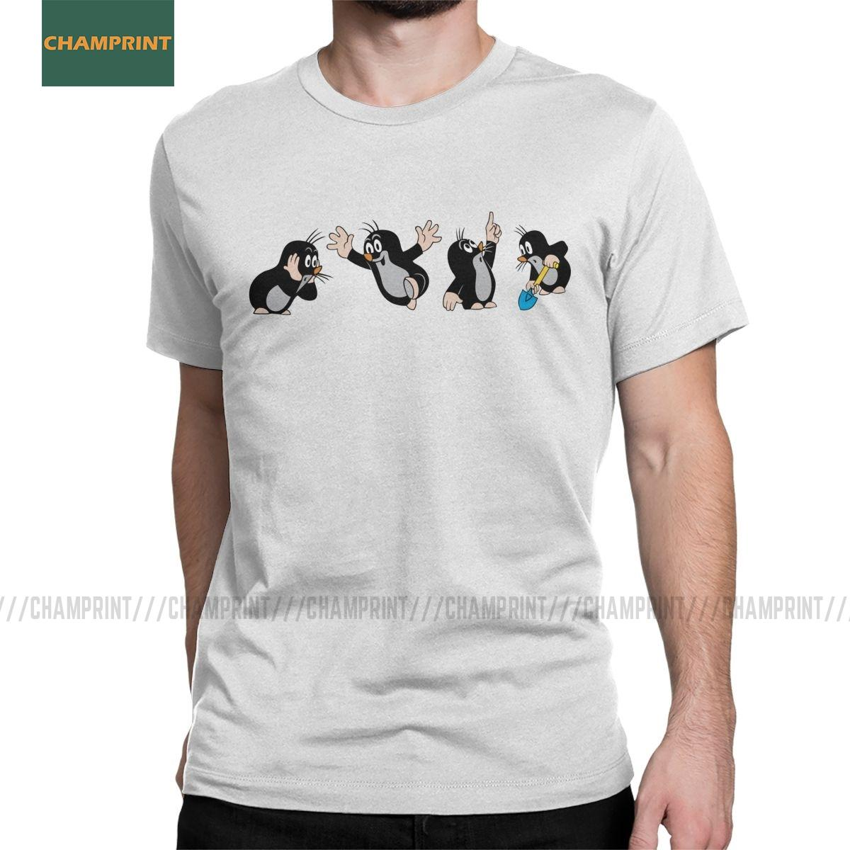 Novedad Europea Mole Comics T-Shirts para Hombre Camiseta de algodón Krtek Poco Maulwurf corto lindo de la historieta de la manga Ropa 6XL