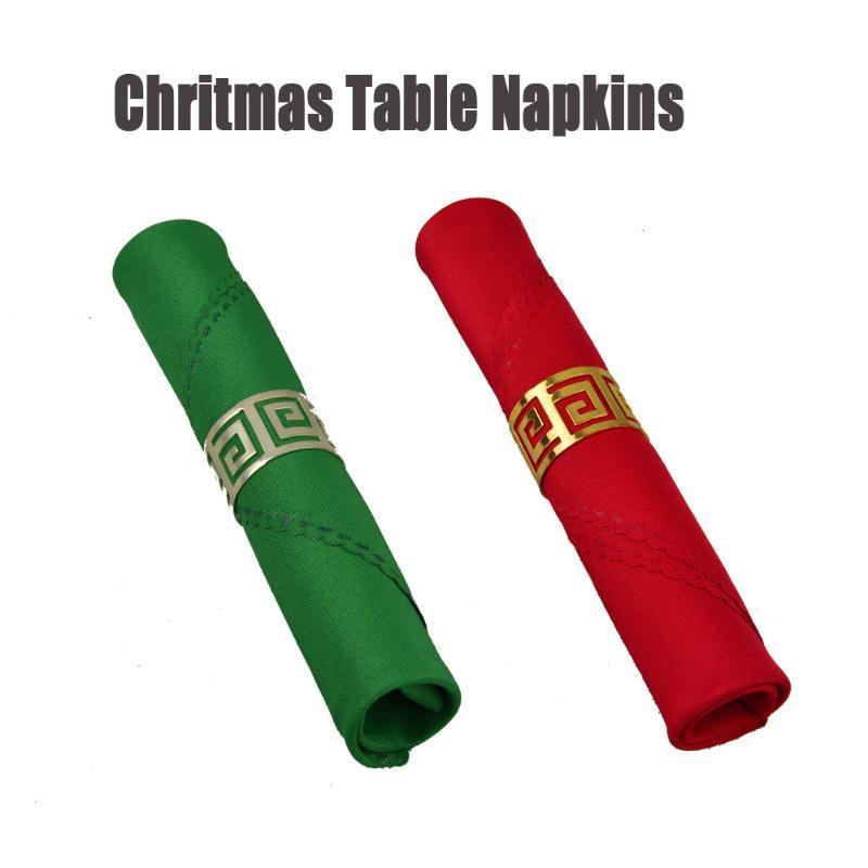 6PCS / LOT ميلاد سعيد عيد الميلاد الديكور الأحمر / الأخضر 19INCH ساحة الجدول منديل فندق مطعم البوليستر للطي القماش المنديل