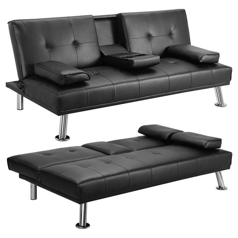 US stock Black Convertible Sofa Bed with Armrest 2 Cup Holders Metal Legs Recliner Couch Home Furniture W36814055