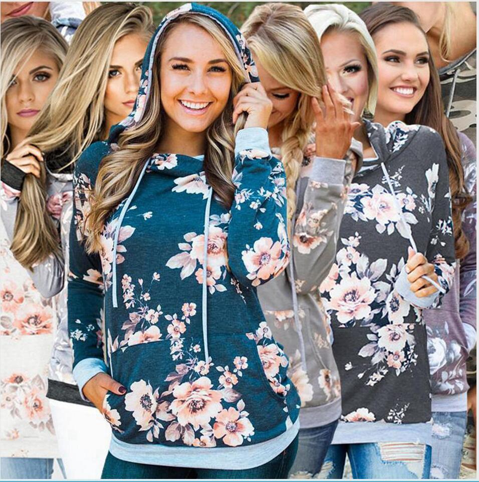 Women Hoodies Jackets Pocket Outerwear Autumn Camouflag Floral Printed Top Coat Female Pullover Long Sleeve Skinny Sweatshirts LJJP375