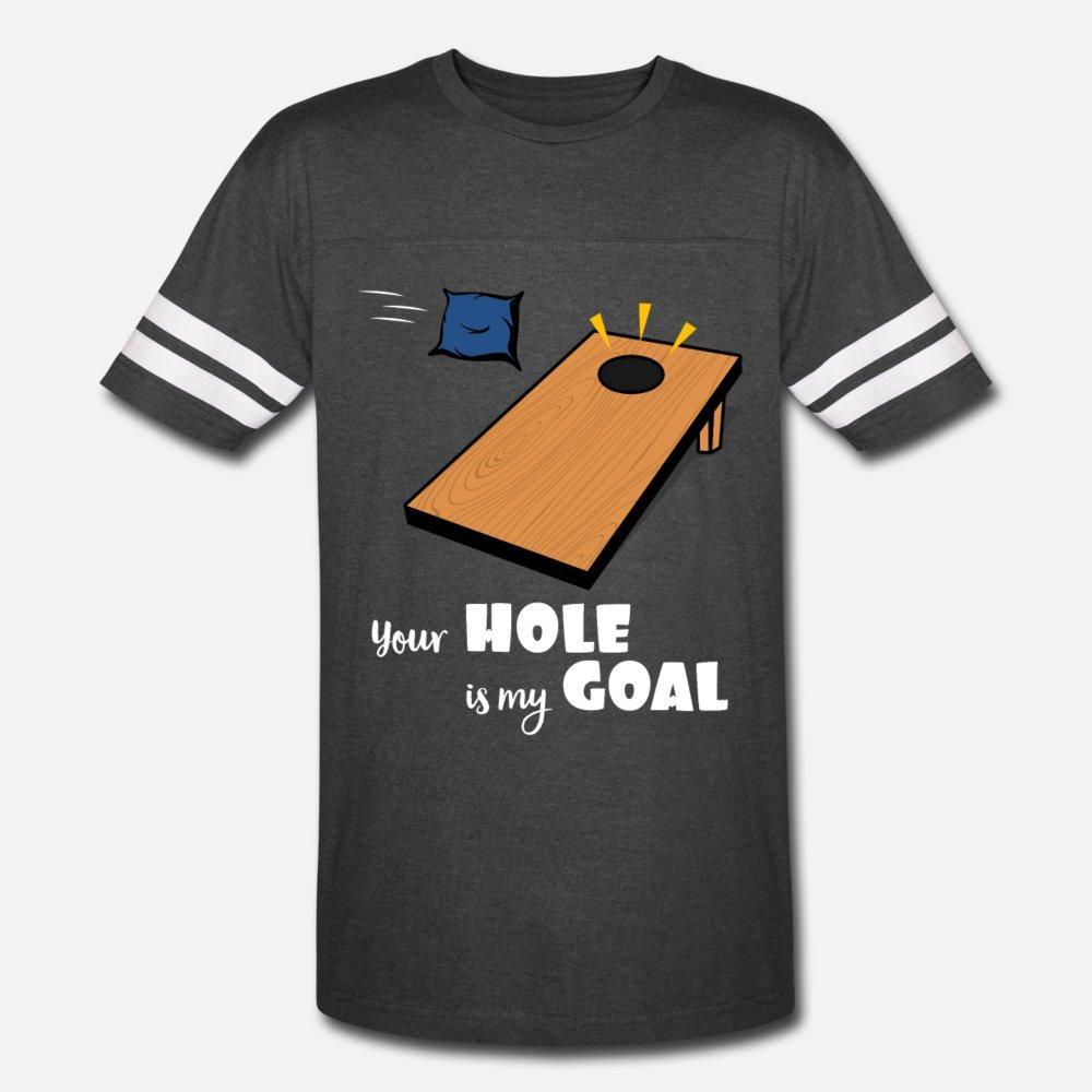Seu buraco é meu objetivo Cornhole Bag Campeão do lance camiseta Homens bonito camiseta em torno do pescoço Fit bonito Primavera Outono Vintage engraçado