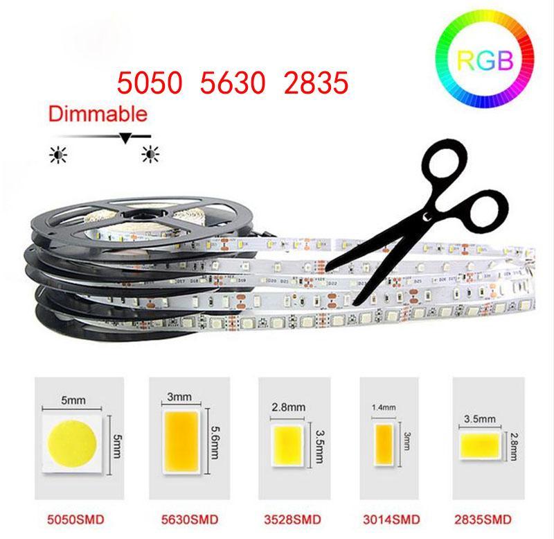LED Strip Light DC12V 5m 300 LED SMD3528 5050 5630 diodetatape colori singoli nastro di alta qualità flessibile per la decorazione domestica