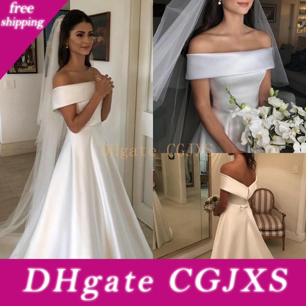 Basit Bahçe Hat Düğün Elbise 2019 Zarif Bateau Boyun Düğmeler Geri Gelin Gelinlikler ile Bow