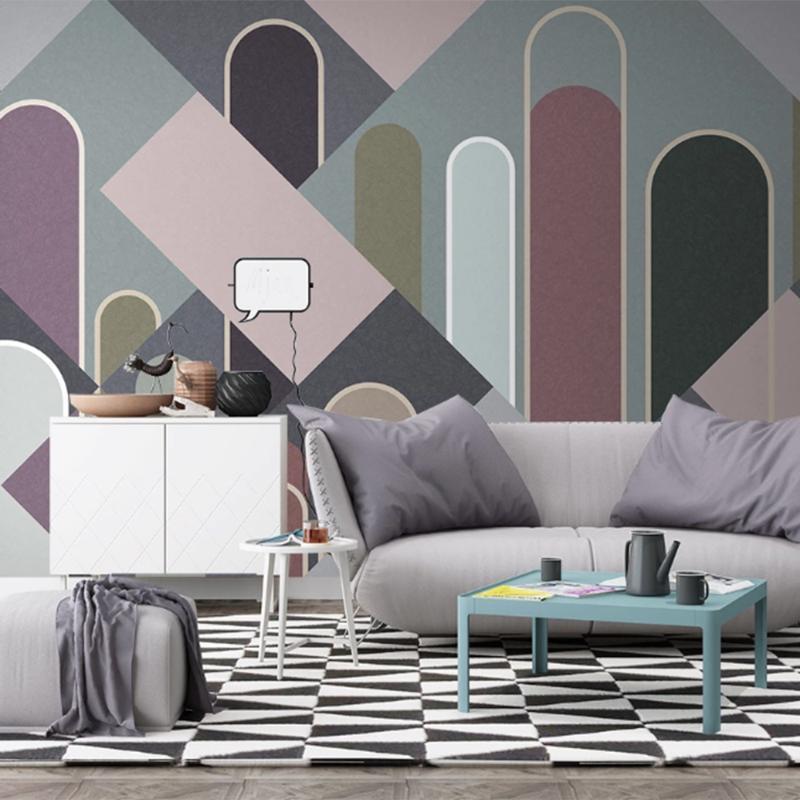 Роскошные абстрактные геометрические стены искусства Фрески для ТВ Фоновая номер Домашнее украшение нестандартного размера Современный Минималистский свет обои