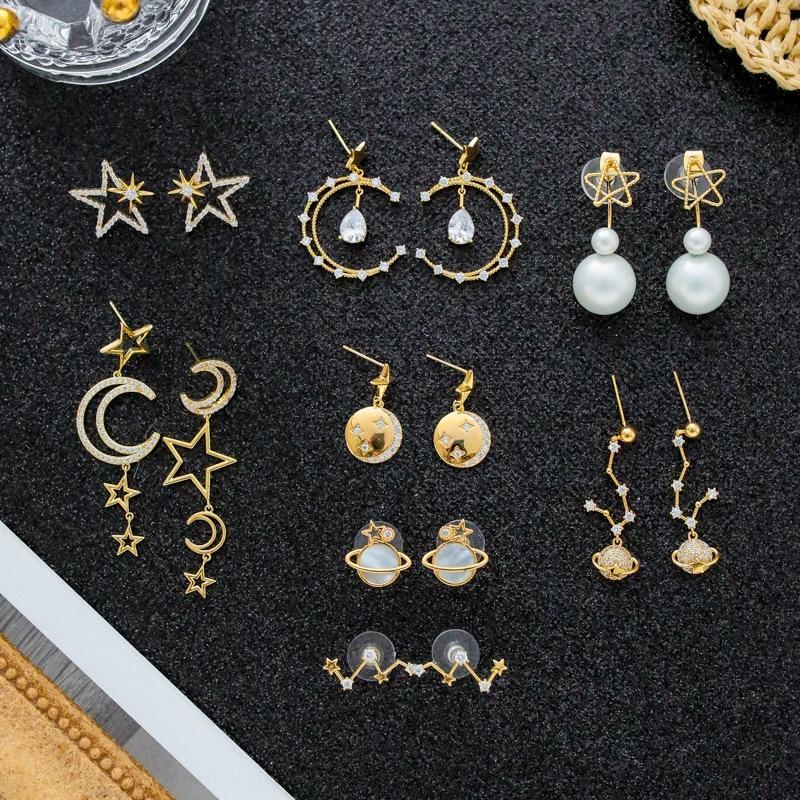 Kadınlar için ReoML Yıldız moon'un ve moda S925 gümüş iğne mikro kakmalı Fransız küpe beş köşeli yıldız altınlar, uzun püskül küpe