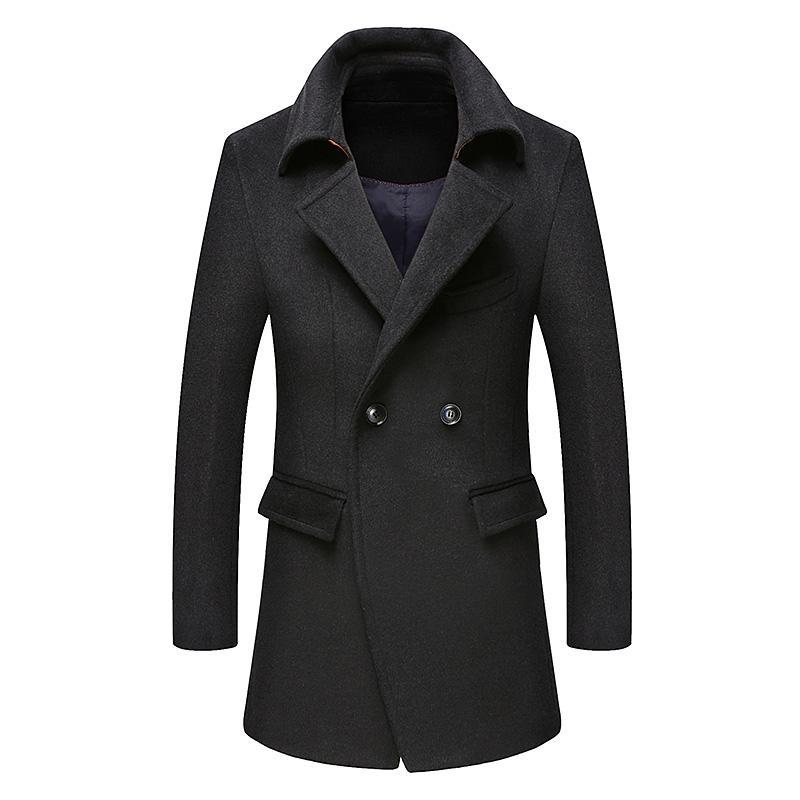 Secciones 2020 Nueva invierno de lana capa de los hombres de ocio chaqueta de lana largas de los hombres de color puro chaquetas de moda Casual / Casual Hombres Abrigo