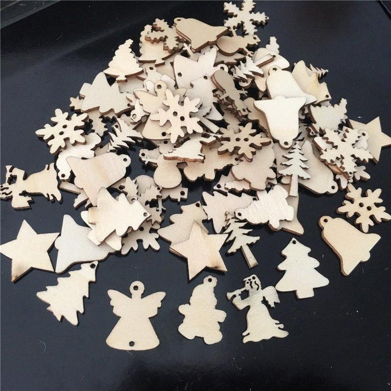 50Pcs / Lot натурального дерева Рождественская елка украшения кулон Снежинки Белл Санта Снеговик Deer Xmas Главная Свадебные украшения 62081 f8PD #