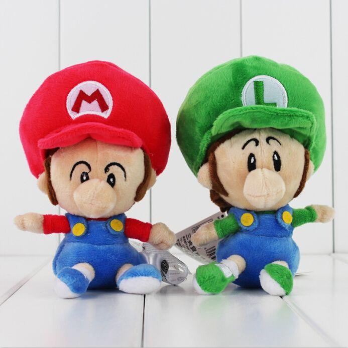 Super Mario Bros Baby Mario Baby Luigi Plush Macio Stuffed brinquedos boneca 14cm para as crianças dom varejo frete grátis