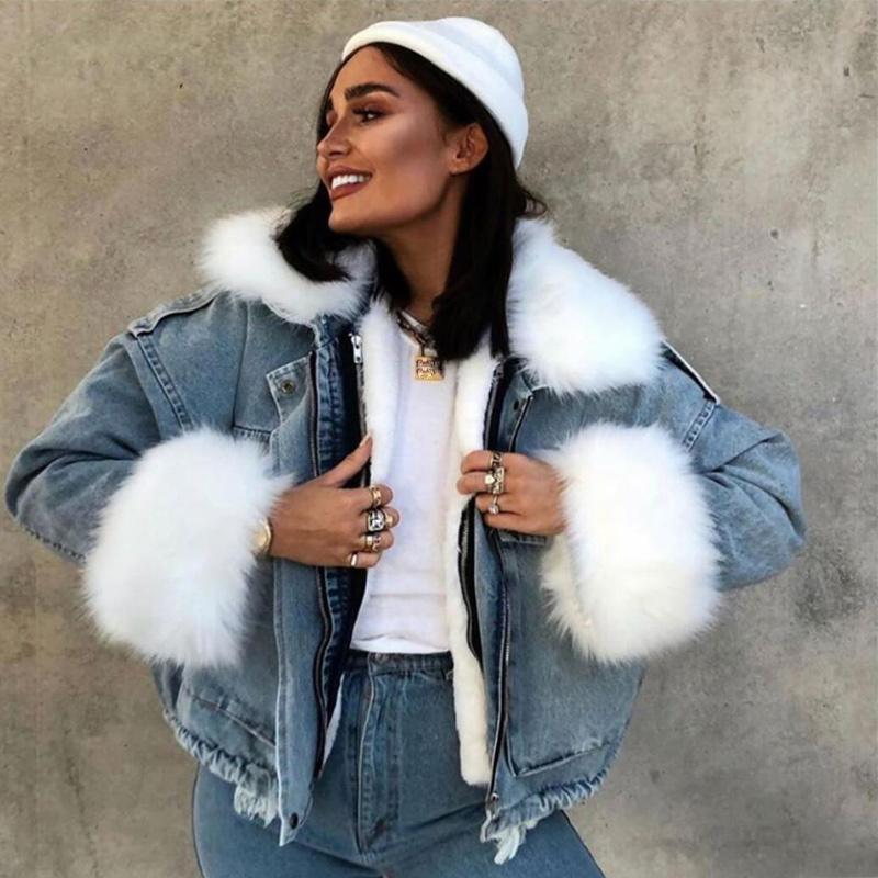 Winter Warm Lamb Faux Fur Collar Women Denim Jacket Coat Big Pocket Ladies Jackets Thick Loose Denim Coats For Woman 2020 New T200831