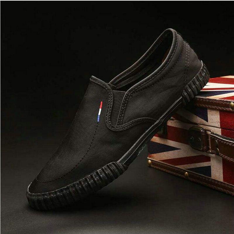 Se enciende forman los zapatos ocasionales respirables de lona de los hombres de los holgazanes de los mocasines resbalón en los zapatos de conducción Pisos masculino de los hombres de A11-74