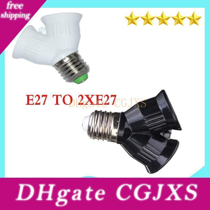 10pcs /Lots E27 To 2xe27 1 To 2 Y Shape Led Halogen Cfl Bulb Base Light Lamp Splitter Split Adapter Converter Socket Extend