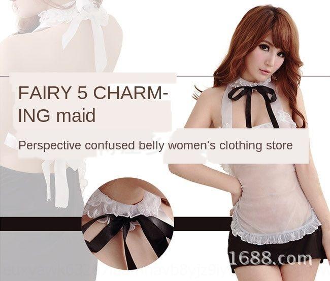 ZRrbu HKpEw transparent underwear bellyband large size maid outfit maid women's Underwear nurse student uniform Sexy temptation suit 5059