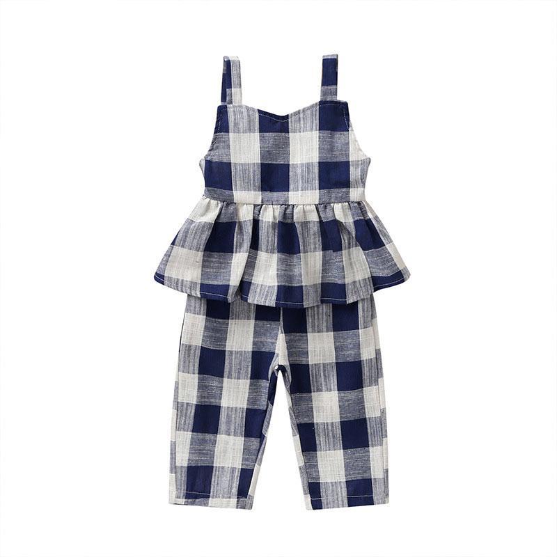 Lattice Children Girls Overalls Baby Girl Summer Clothes Cotton Toddler Overalls Fashion Children's Clothing 1-5 Years